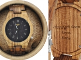 Engraved Zebrawood Men's Watch With Black Dial (W072)