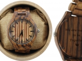 Engraved Zebrawood Men's Watch With Black Hands (W007)