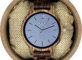 Engraved  Zebrawood Men's Watch With Blue Dial (W091)