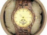 Engraved Zebrawood Men's Watch With Gold Studded Bezel (W142)
