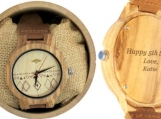 Engraved Zebrawood Men's Watch With Leather Band (W023)