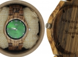 Engraved Zebrawood Women's Watch (W131)