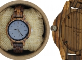 Engraved Zebrawood Women's Watch With Charcoal Dial (W143)