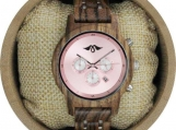 Engraved  Zebrawood Women's Watch With Pink Dial (W138)