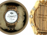 Engraved Zebrawood Womens Watch With Stainless Steel Dial (W135)