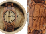 Engraved Zebrawood Women's Watch with Zebrawood Bracelet (W073)