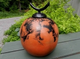 Feather Raku Globe Urn or Decorative Jar