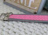 Gray and Pink Dot Key Fob