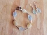 Handcrafted Sterling Silver And Agate Bracelet And Earrings Set