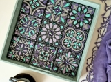 Handmade serving tray with patterned tiles
