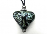 Heart Shaped Raku Tree of Life Pendant Urn, green luster glaze