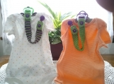 Kiwi Green & Dark Purple Hand Knit Pacifier Clips - Set of 2