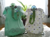 Kiwi Green & Pastel Blue Hand Knit Pacifier Clips - Set of 2