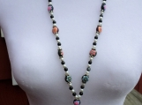 "Lanyard 32"" White Pearls, Black Agate, Printed Polymer Clay  #63"
