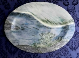 Large Northern River Platter,  Handmade Oval Serving Plate, Turkey Platter, Blue Green Landscape Pottery
