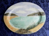 Large Summer Lake Platter,  Handmade Oval Serving Plate, Turkey Platter, Landscape Pottery