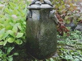 Large Umber Brown Stoneware Urn with Leaf Handles/  handmade  pottery