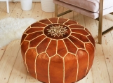 Leather Round Ottoman, Leather Tobacco Brown Pouf, Moroccan Otto