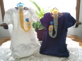 Lemon Yellow & Bright Blue Hand Knit Pacifier Clips - Set of 2