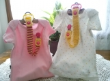 Lemon Yellow & Dark Pink Hand Knit Pacifier Clips - Set of 2