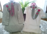 Light Gray & Dark Pink Hand Knit Pacifier Clips - Set of 2