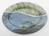 Medium Northern River Platter,  Handmade Oval Serving Plate, Sushi Plate, Blue and green Landscape Pottery