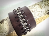 Mens Leather and Chain Cuff Bracelet