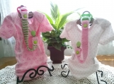Pastel Pink & Kiwi Green Hand Knit Pacifier Clips - Set of 2