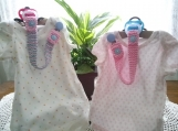 Pastel Pink & Pastel Blue Hand Knit Pacifier Clips - Set of 2