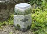 Peaceful River Stoneware Urn, half size urn, Landscape Urn, blue and green urn, handmade ceramic urn