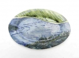 Petite Northern River Platter,  Handmade Oval Serving Plate, Sushi Plate, Blue and green Landscape Pottery
