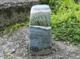 Quiet River Stoneware Urn, half size urn, handmade ceramic urn, blue and green urn, landscape urn