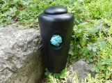 Raku Infant or Pet Urn with Turquoise Stone