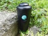 Raku Infant or Pet Urn with Turquoise Stone