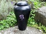 Raku Urn with Dark Purple Amethyst Stone / handmade pottery