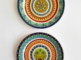 Set of 2 ceramic decorative plates Mexico