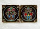 Set of 2 ceramic Hamsa plates