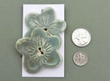Set of Sage Green Flower Shaped  Buttons, Large
