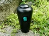 Small Raku Urn with Turqoise Stone/ handmade pottery