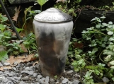 Smoke Fired Half Sized Urn or Decorator Jar with Leaf Imprint
