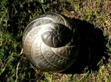 Smoke Fired Spiral Half Sized Urn or Decorator Jar