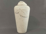 Speckled White Leaf Infant or Pet Urn /  handmade stoneware pottery