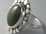 Sterling Silver Ring with Jade (nephrite) Oval