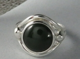 Sterling Silver Ring with Jade (nephrite) Round
