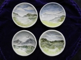 Tiny  Grassy Hills Dipping Bowls, Set of 4 Sushi Dishes,