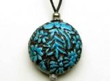 Turquoise Floral Medallion Urn