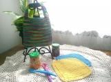 """Tutti-Frutti"" Hand Knit Bib and Washcloth Set"
