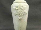 White Hearts & Flowers Infant or Pet Urn /  handmade stoneware pottery