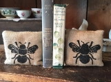Bee Bookends, Burlap Bookends, Primitive Bookends, Bee Bookends, Feed Sack Bookends, Farmhouse Decor, Fabric Bookends, Rustic Bookends,