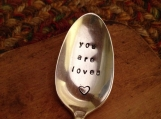 Hand Stamped Silver Baby Spoon, You Are Loved, Vintage Spoon, Baby Gift, Shower Gift, Baby Shower Gift, Grandma Gift, Baby Spoon